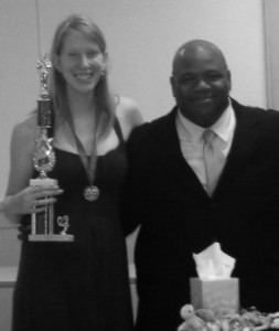 Ann Grosmaire stands with drama teacher Rod Durham after winning Thespian of the Year at the end of the year Drama Banquet last May.