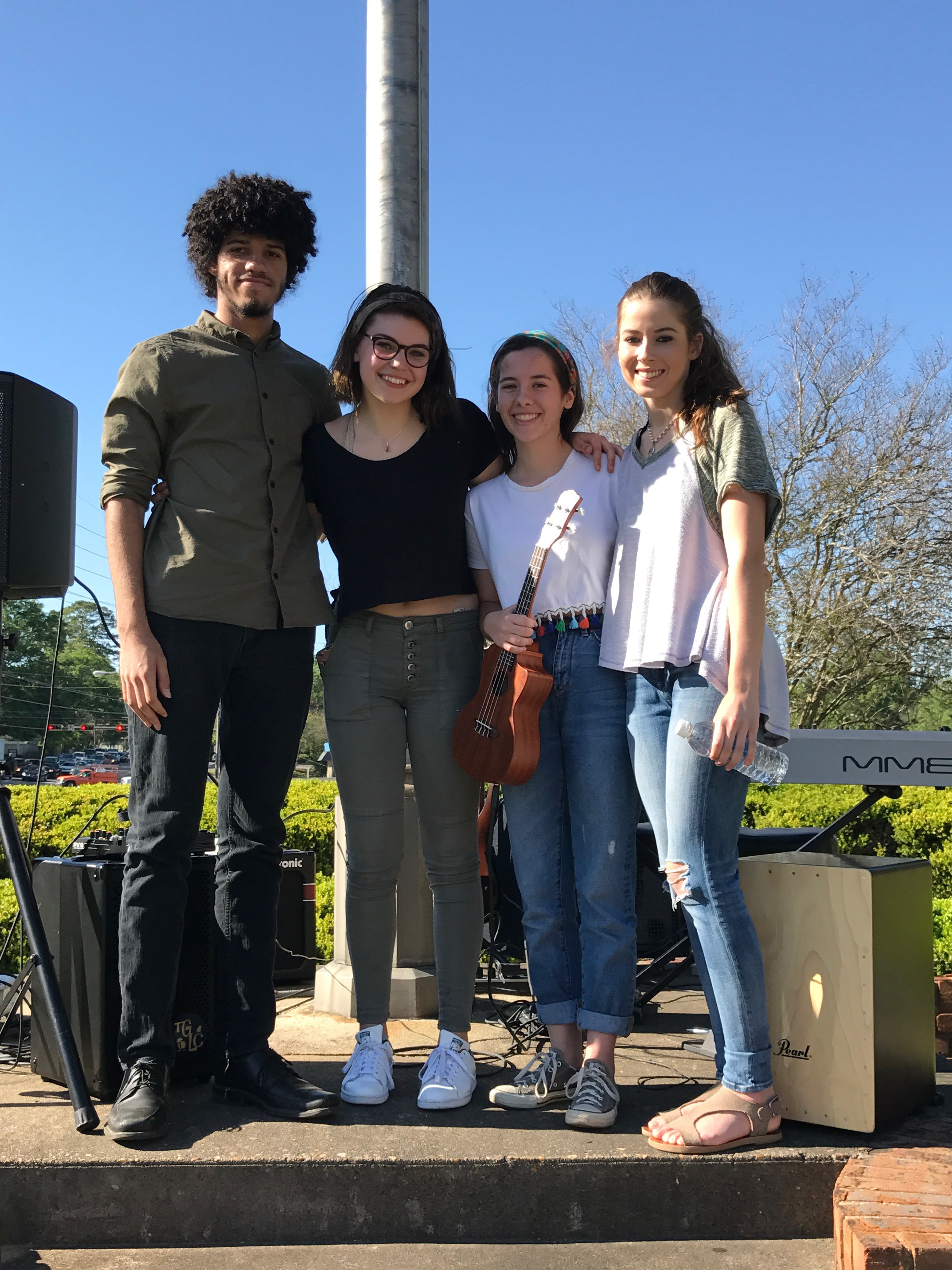 The Happenings (Josiah Pye, Erin Hill, Alaina Stephens, Kennedy Knisley) at the Tallahassee Democrat.
